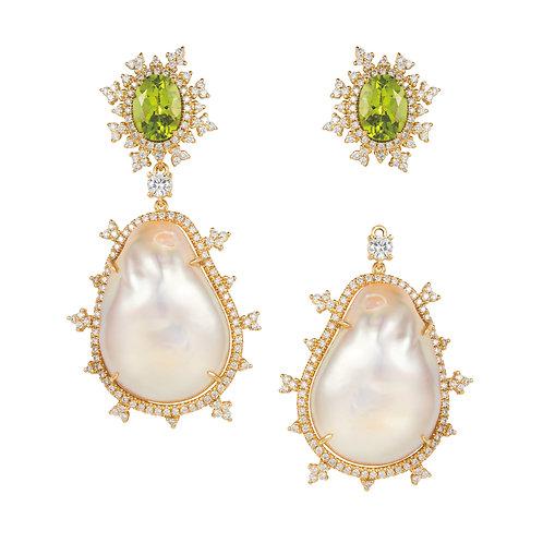 Tsarina Spring Flake & Baroque Pearl Earrings