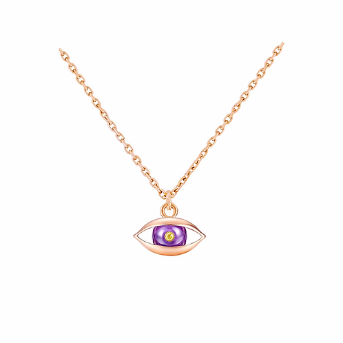 The Eye Chain Necklace 18 karat Rose Gold, Amethyst, Yellow Diamond
