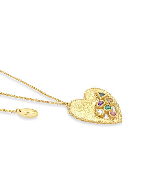 Love Coloured Stone & Diamond Pendant