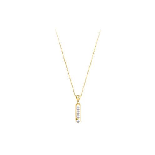 Melody Chain Necklace in 18 Karat yellow Gold, Akoya Pearls