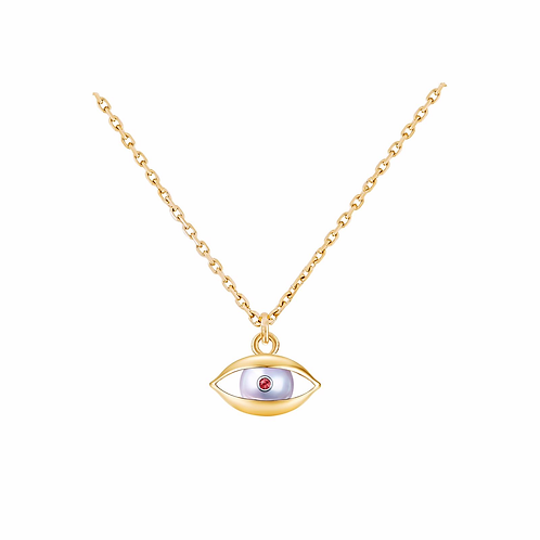 The Eye Chain Necklace 18 Karat Yellow Gold, Akoya Pearl, Ruby, Diamond
