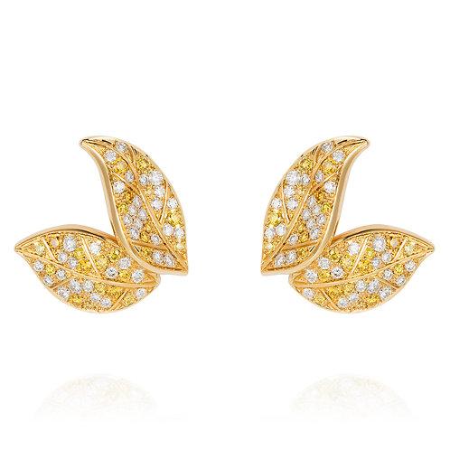 Petite Feuille Yellow Stud Earrings