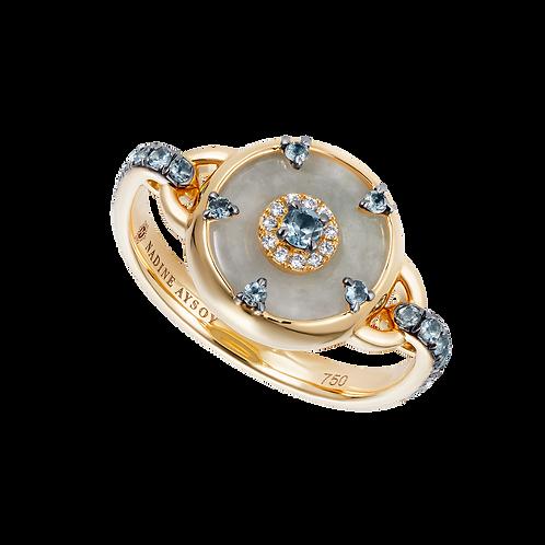 Celeste Petite Aquamarine and Jade Ring