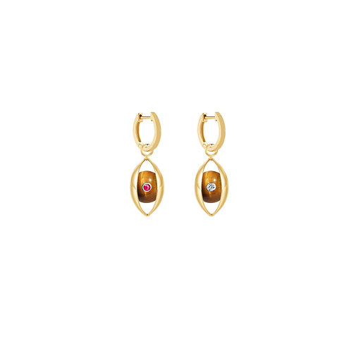 The Tiger Eye Hoop- Earring