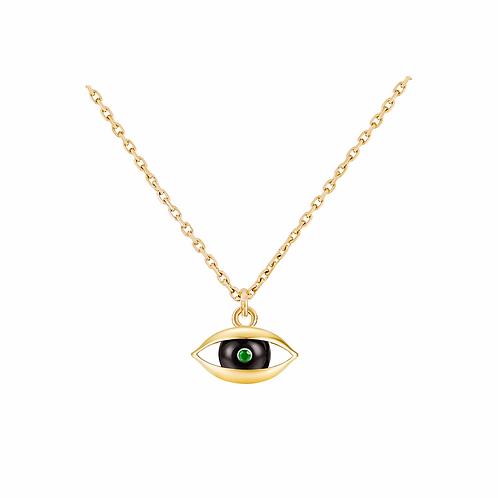 The Eye Chain Necklace 18 karat Yellow Gold, Onyx, Emerald, Diamond