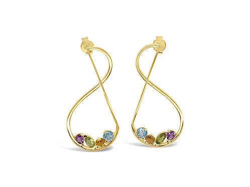 Curve Coloured Stone Earrings