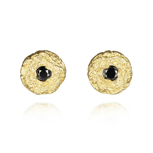 Pin Stud Earrings with Black Diamonds