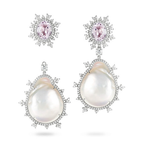 Tsarina Kunzite & Baroque Pearl Earrings