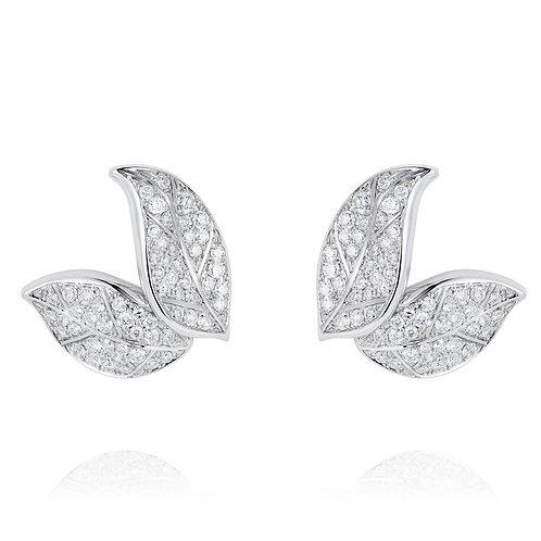 Petite Feuille White Stud Earrings