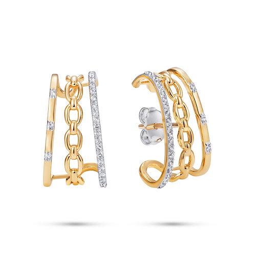 Catena triple ear lobe earrings