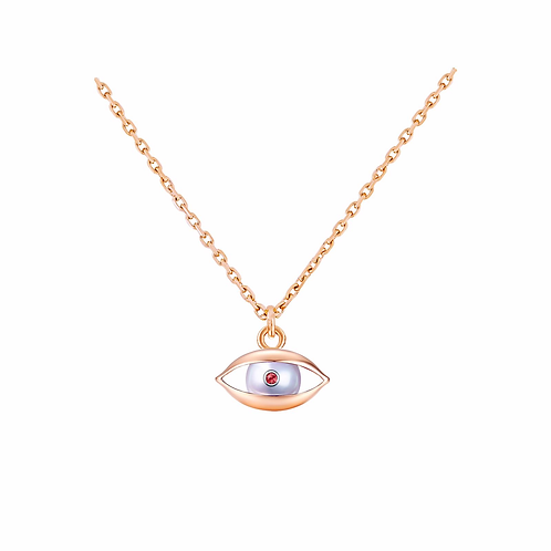 The Eye Chain Necklace 18 Karat Rose Gold, Akoya Pearl, Ruby, Diamond