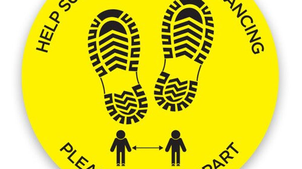 Social Distance Floor Stickers HELP SUPPORT SOCIAL DISTANCE KEEP APART