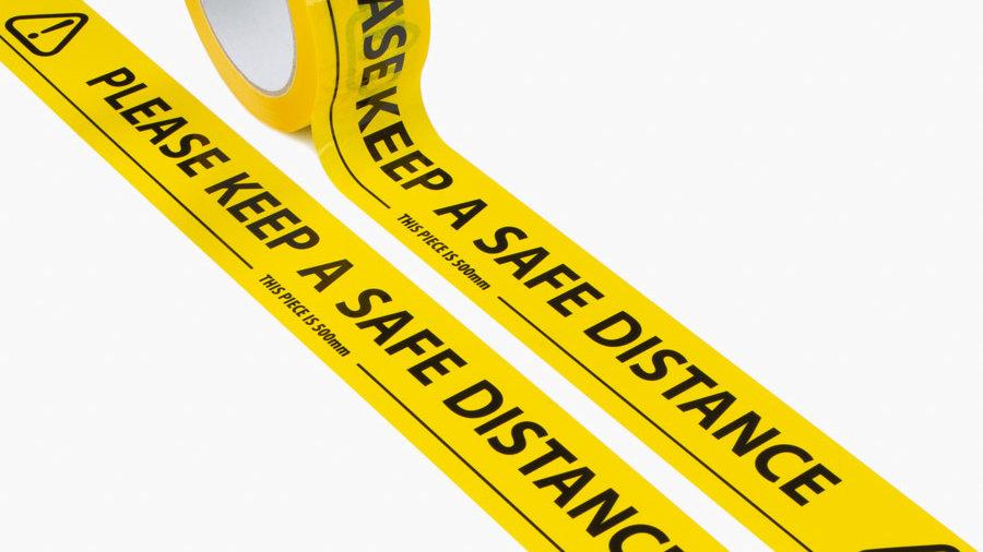 'Keep a Safe Distance' Floor Marking Tape (33M)