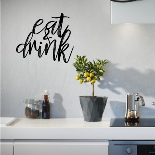 Eat & Drink Word Wall Art Kitchen Sign | Gift | Wall Hanging | New Home | Housew