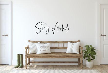 Stay Awhile Metal Wall Sign