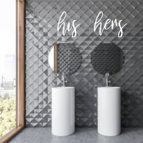his hers sign | Cut out | Wall Script | Wall hanging art | Bathroom | Bedroom |