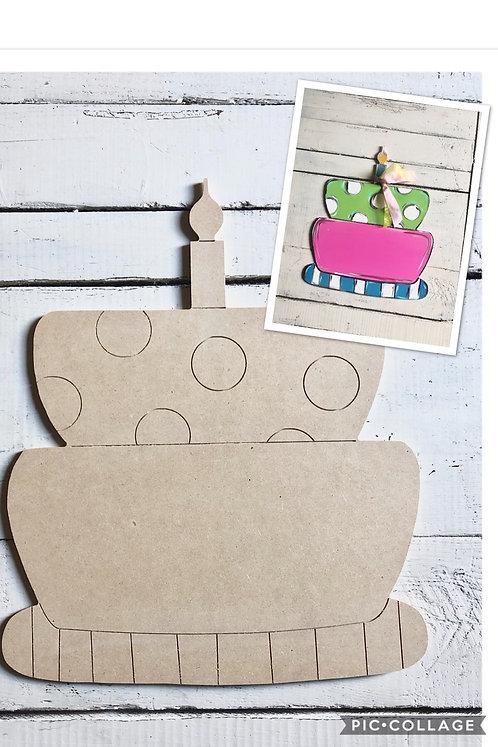 Birthday cake Door Hanger / Paint by Line