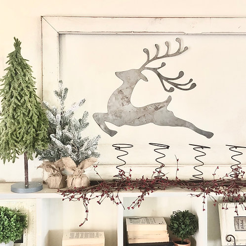 Metal Reindeer wall decor -Raw Steel