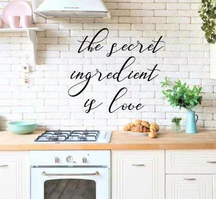 the secret ingredient is love Metal Wall Words
