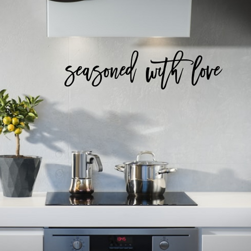 seasoned with love farmhouse kitchen wall phrase | Wall hangings | funny sign |