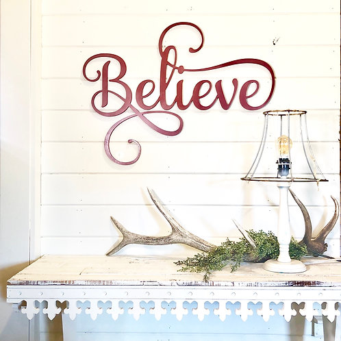 Believe Cursive Sign - Wood Wall Lettering