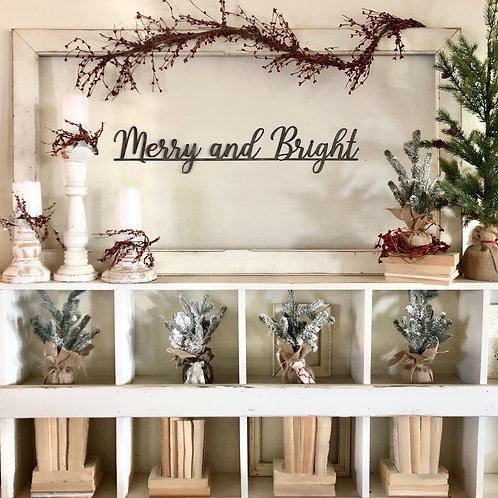 Merry & Bright Metal Wall Sign