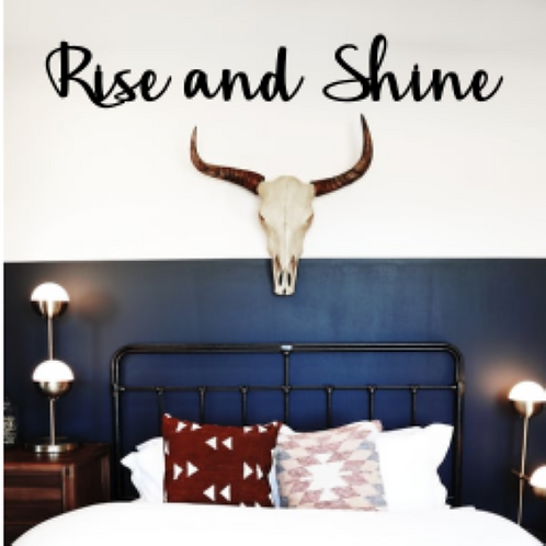 rise and shine 3-d sign above bed | Farmhouse script | Cursive | Cottage Room |