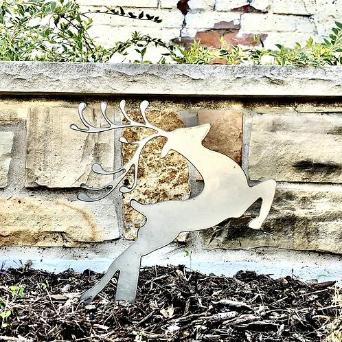 Metal Leaping Reindeer Yard Stake
