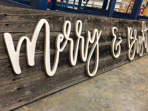 Merry & Bright  - Wood Wall Phrase