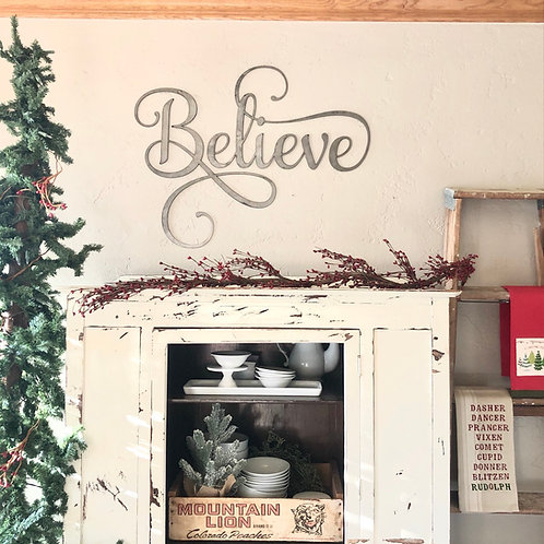 Believe Metal Wall Sign -Large