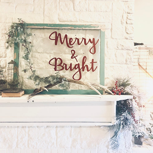 Merry & Bright Wooden Wall Phrase