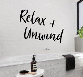Relax + Unwind Bathroom Wall Sign | Bath Wall Decor | Farmhouse Decor | Bath Tub