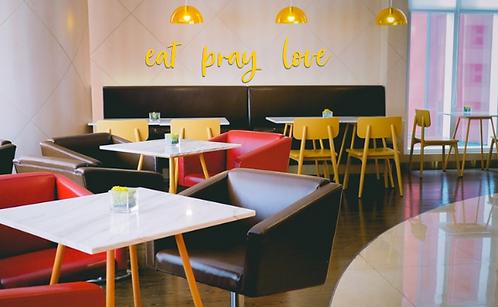 eat pray love | kitchen wall decor | wall cursive script | Farmhouse | Cook | Wa