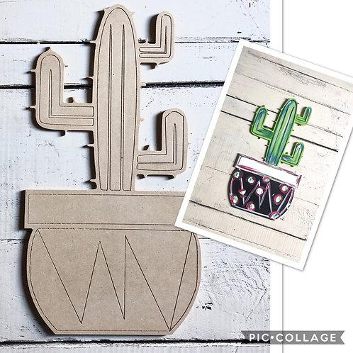 Cactus Decor / Paint by Line / Unfinished