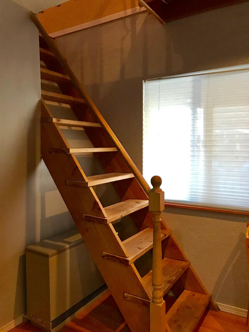 Narrow Stairs to TV Room