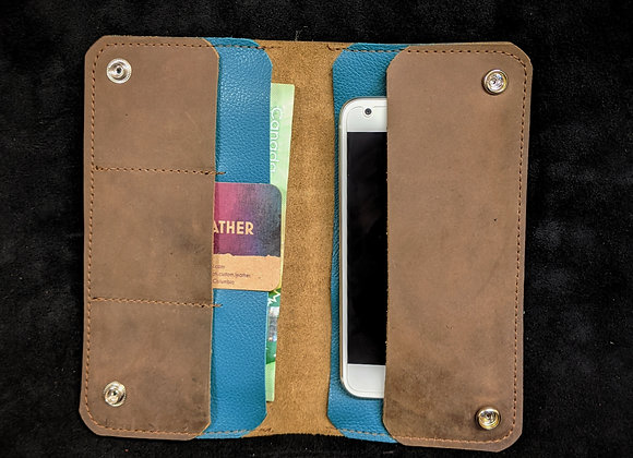 Cell Phone Wallet- Brown/Teal