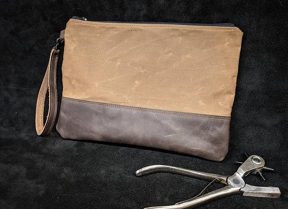 Leather/Canvas Zipper Pouch