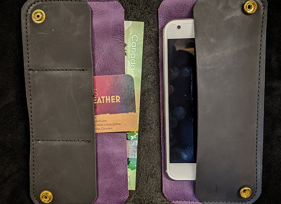 Cell Phone Wallet- Black/Purple
