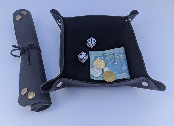 Leather Tray, Collapsible -Black