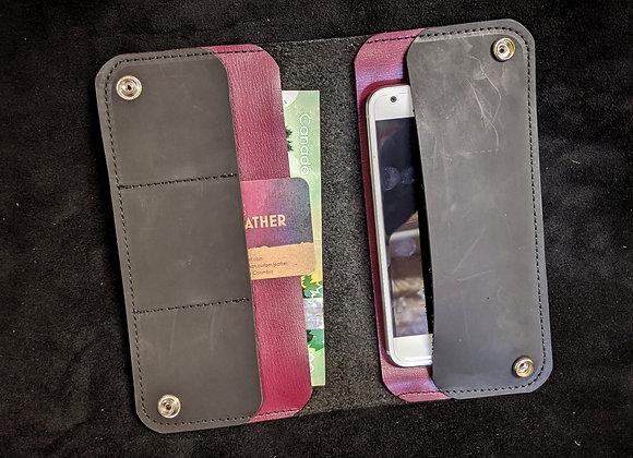 Cell Phone Wallet- Black/Plum