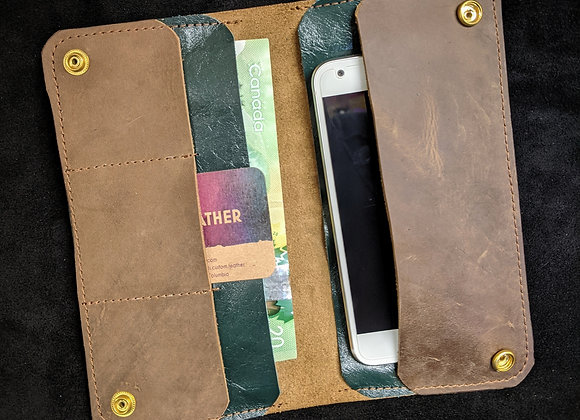 Cell Phone Wallet- Brown/Green