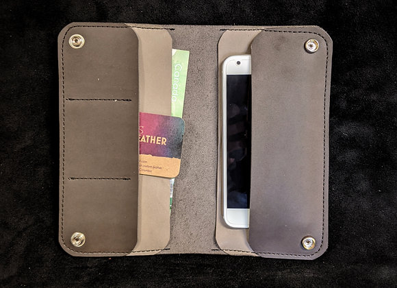 Cell Phone Wallet- Brown/Gray