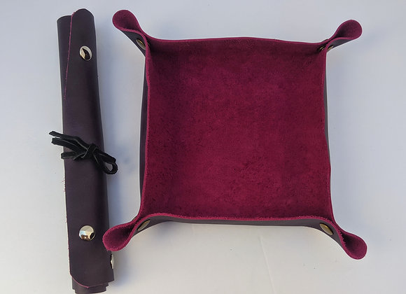 Leather Tray, Collapsible -Purple