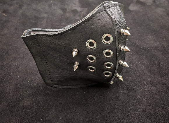 Leather Mask- Black with Spikes