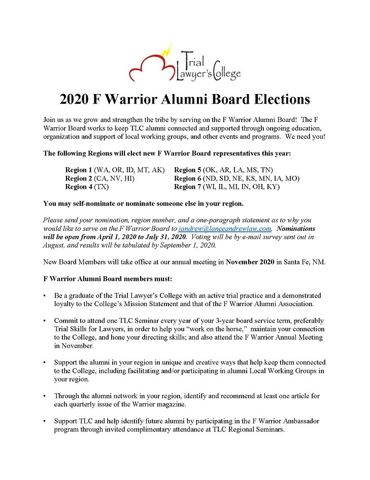 2020 F Warrior Alumni Board Elections No