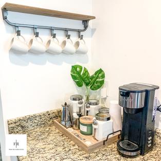 K-cup machine, tea, white + brown sugar, & cuban coffee