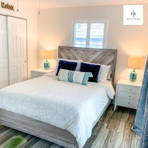 Master bedroom with queen memory foam bed