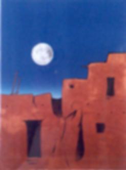 Moon Over Taos Pueblo  lithograph 23x32 Dan Namingha-