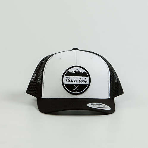 Three Tee's Golf Logo Snapback-White/Black