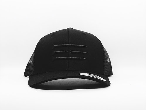 Three Tee's Golf Tri-Tees Snapback- Black/Black